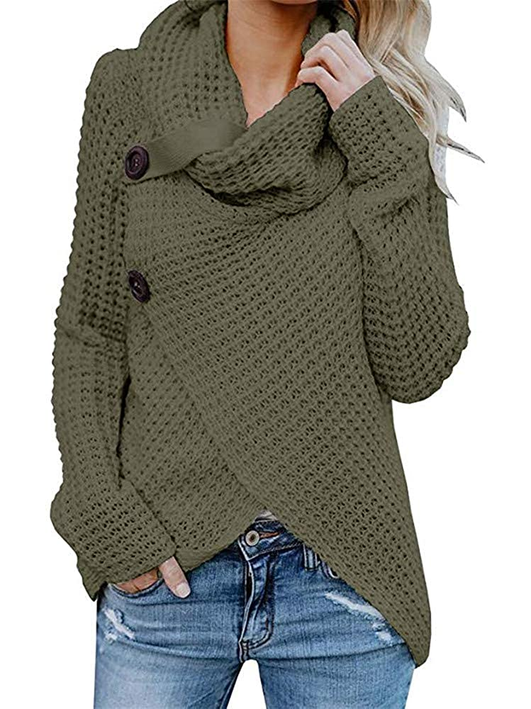 Womens Sweaters Turtle Cowl Neck Chunky Cable Knit Button Wrap Pullover  Sweater Coats (S,XXL)