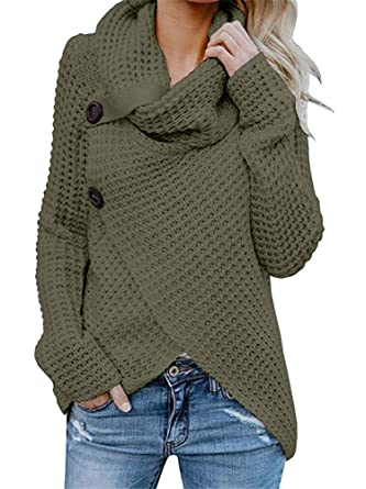 Womens Sweaters Turtle Cowl Neck Chunky Cable Knit Button Wrap Pullover  Sweater Coats (S- 56d1fc313