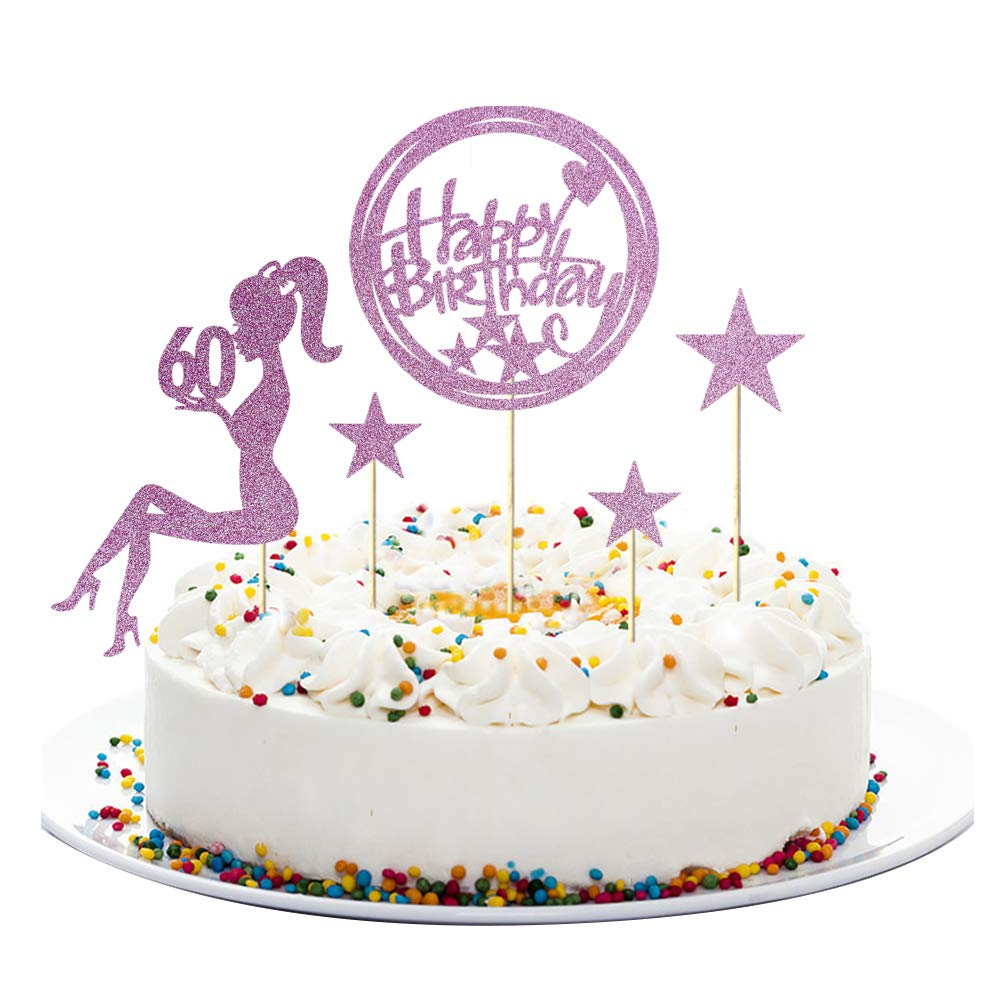 Superb Nn Bh Purple Flash Birthday Cake Topper High Heels Girl 60Th Funny Birthday Cards Online Kookostrdamsfinfo