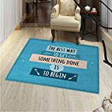 Motivational Area Rug Carpet Philosophical Life Message to Raise Faith in Yourself and Your Strength Living Dining Room Bedroom Hallway Office Carpet 36''x48'' Blue Peach Black