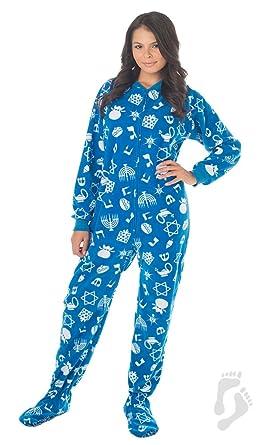 Footed Pajamas - Hanukkah Fun Adult Fleece - Small Plus/Wide