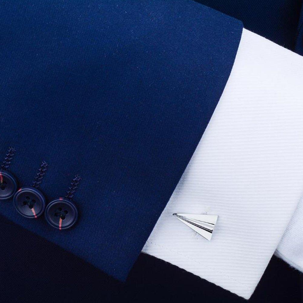 Fengteng Mens Cufflinks Boutons de Manchette de Mariage Clip Silver Plane Paper
