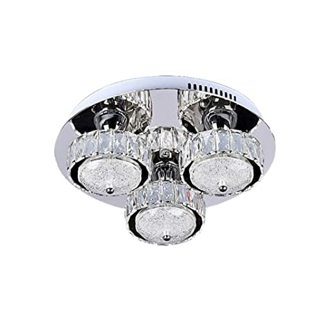 Lámpara De Techo LED Moderno De Acero Inoxidable Con Cristal ...