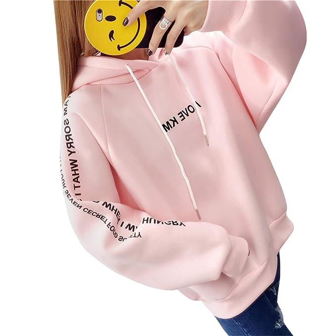 Women Pink Hoodies Streetwear Sweatshirt Tops Ladies Oversized Loose Pullover Moletom at Amazon Womens Clothing store: