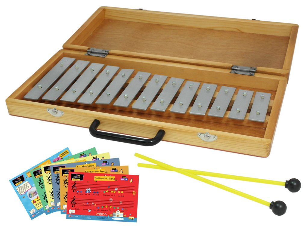 D'Luca TL13B 13 Notes Xylophone Glockenspiel with Wooden Case & Music Cards D'Luca