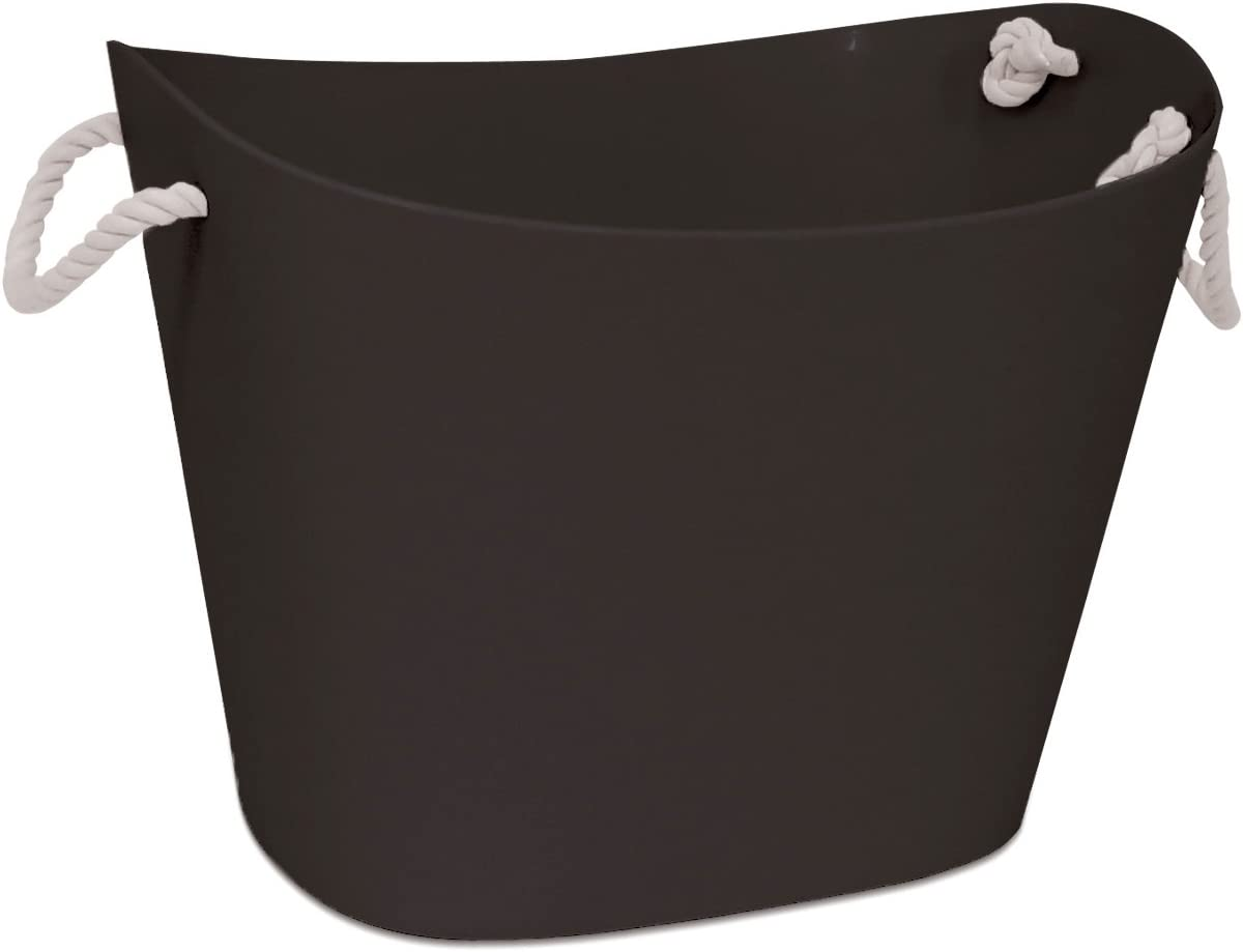 HOMZ Handles, Storage Bin, Waterproof, Cool Gray Base, White Rope Flexible Tub