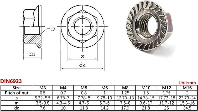 Lot de 50 /écrous hexagonaux M3 /à M12 Avec bride DIN 6923 Acier inoxydable A2