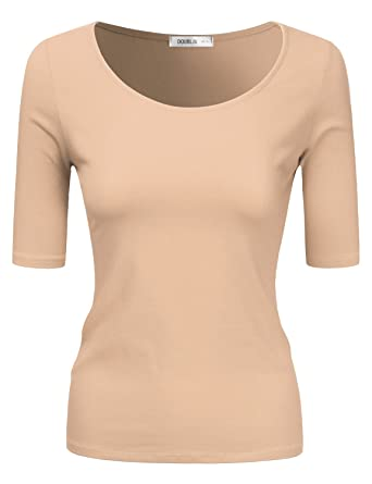 6429980f7ab Doublju Sold   Striped Round Neck T-Shirt Top for Women with Plus Size Beige