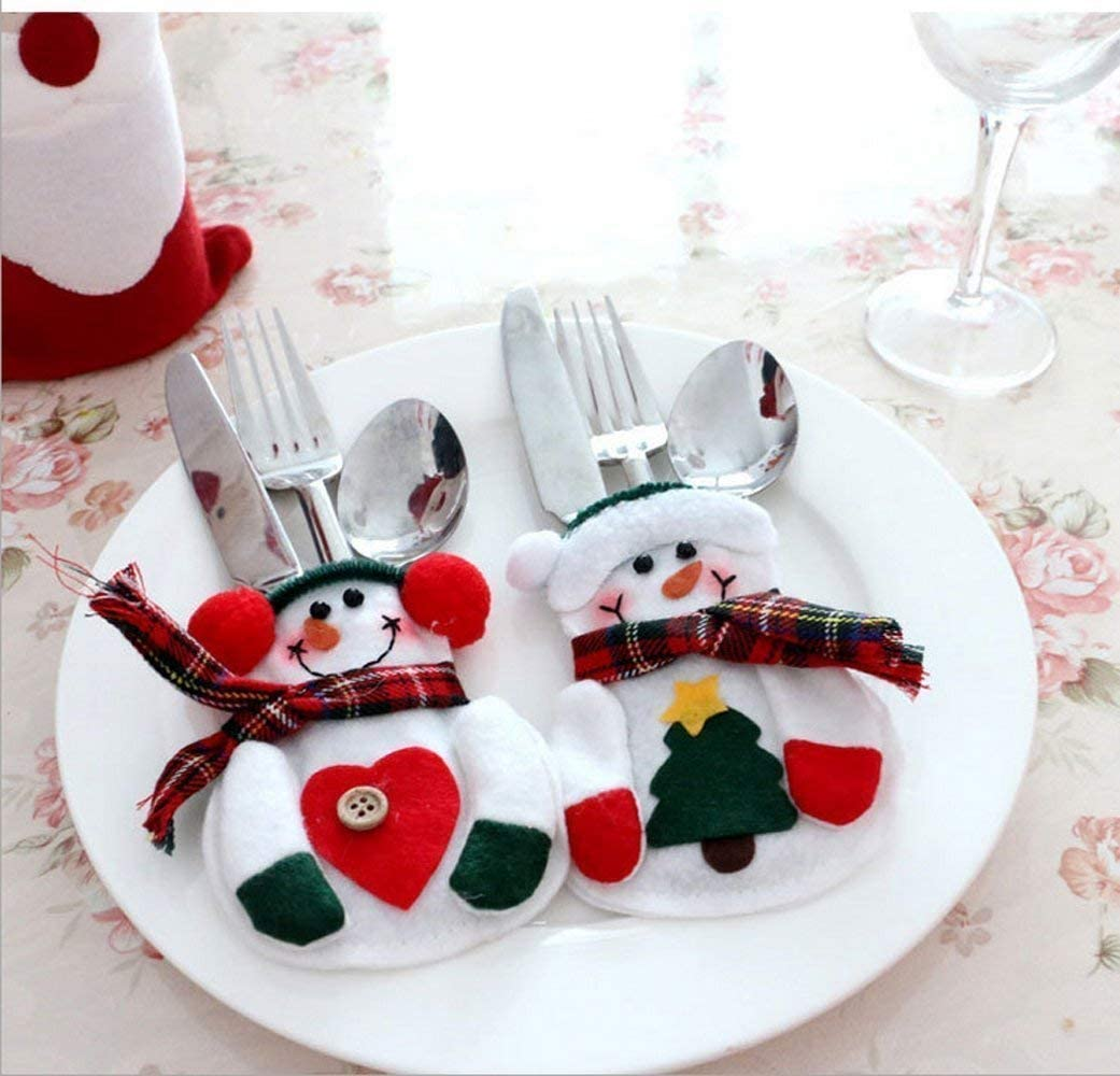 Warmstor 8 Pieces Christmas Cutlery Bag Cute Snowman Silverware Tableware Holder Knife Fork Bag Pouch Decor for Home Dinner Table, Festival Holiday Party, Christmas Tree Decoration