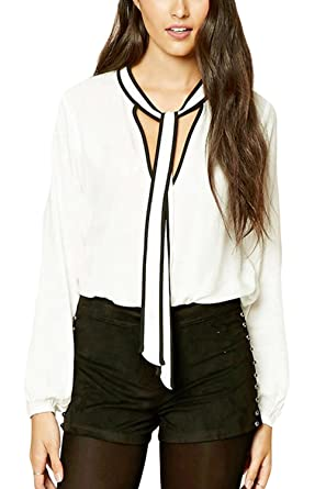 7804a51dbed Zilcremo Women s Elegant Long Sleeve Vintage 40s Plain Office Blouse Shirt  Top Plus Size at Amazon Women s Clothing store