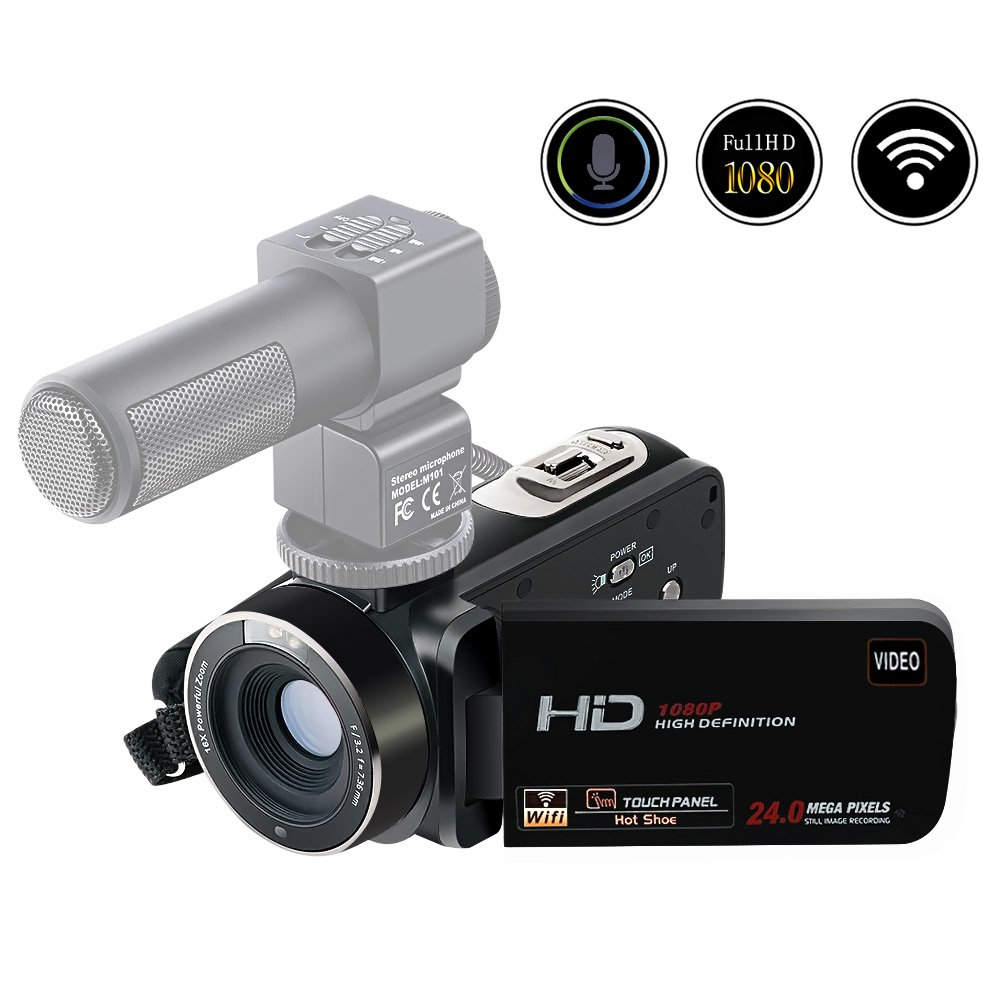 Camcorder Camera Full HD 1080p 24.0MP Digital Video Recorder Webcam 16x Digital Zoom 3 Inch Screen HDMI Output With Remote Control (HDV-G2-F)