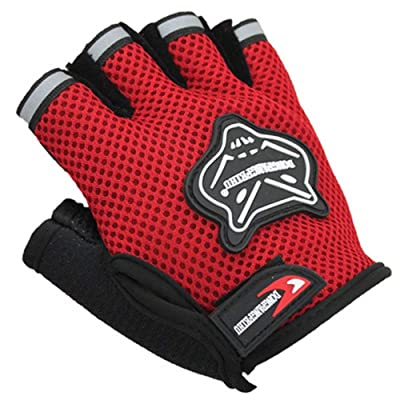 AROYEL Children Boys Bike Gloves Half Finger Breathable Anti-Slip for Riding Cycling for Fishing Bicycle Roller Skating Hunting Climbing for Girls Boys (Red) : Sports & Outdoors