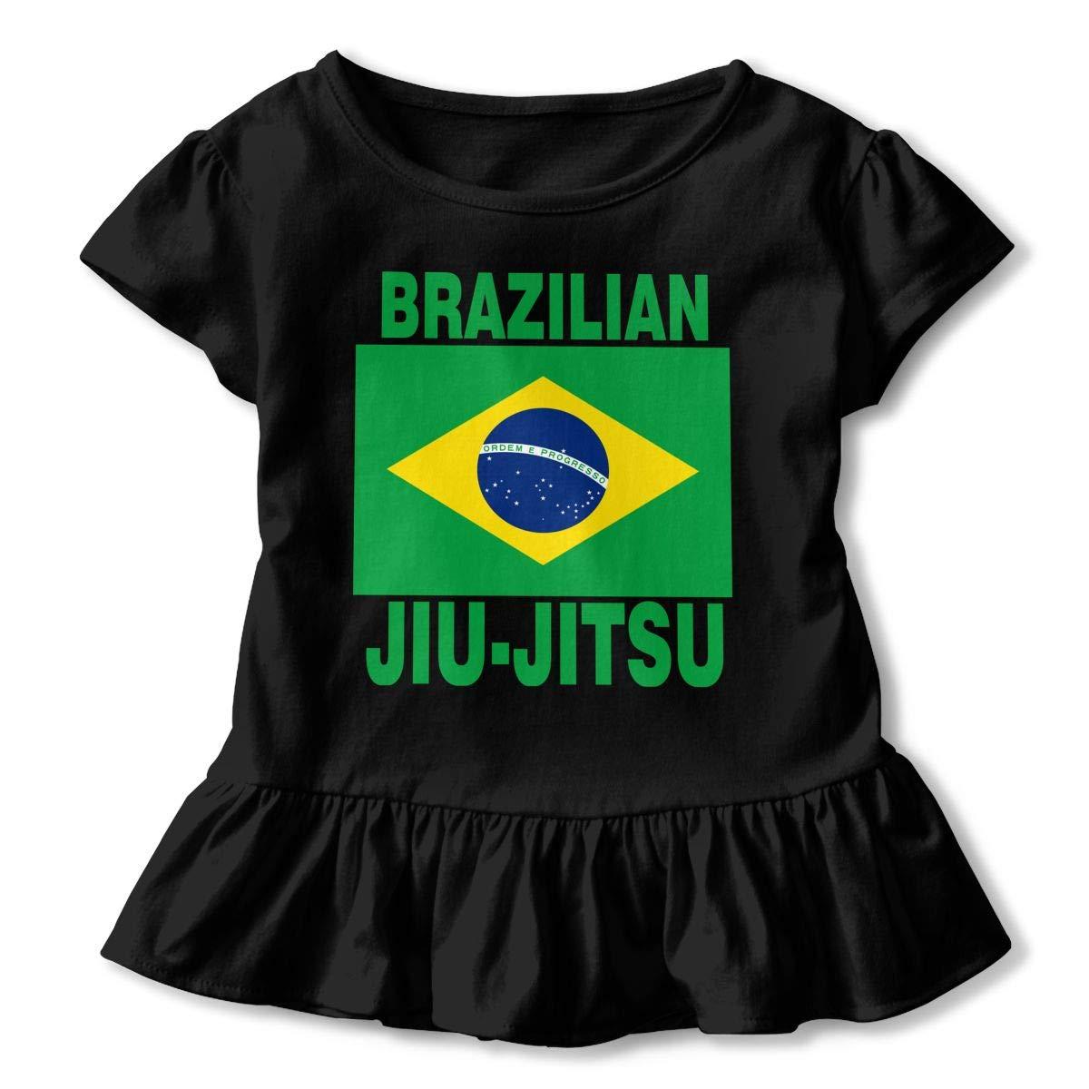 Brazilian Jiu Jitsu Baby Girls Short Sleeve Ruffles T-Shirt Tops 2-Pack Cotton Tee