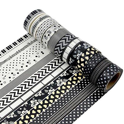 MOEUP 5pcs Dekorative Washi Masking Tape - Each Tape 15mm x 10m
