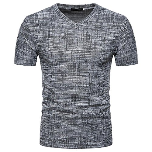 HGWXX7 Men's Summer Casual SOID V Neck Drawing Short Sleeve Pullover Top Blouse T-Shirt (L, Black)