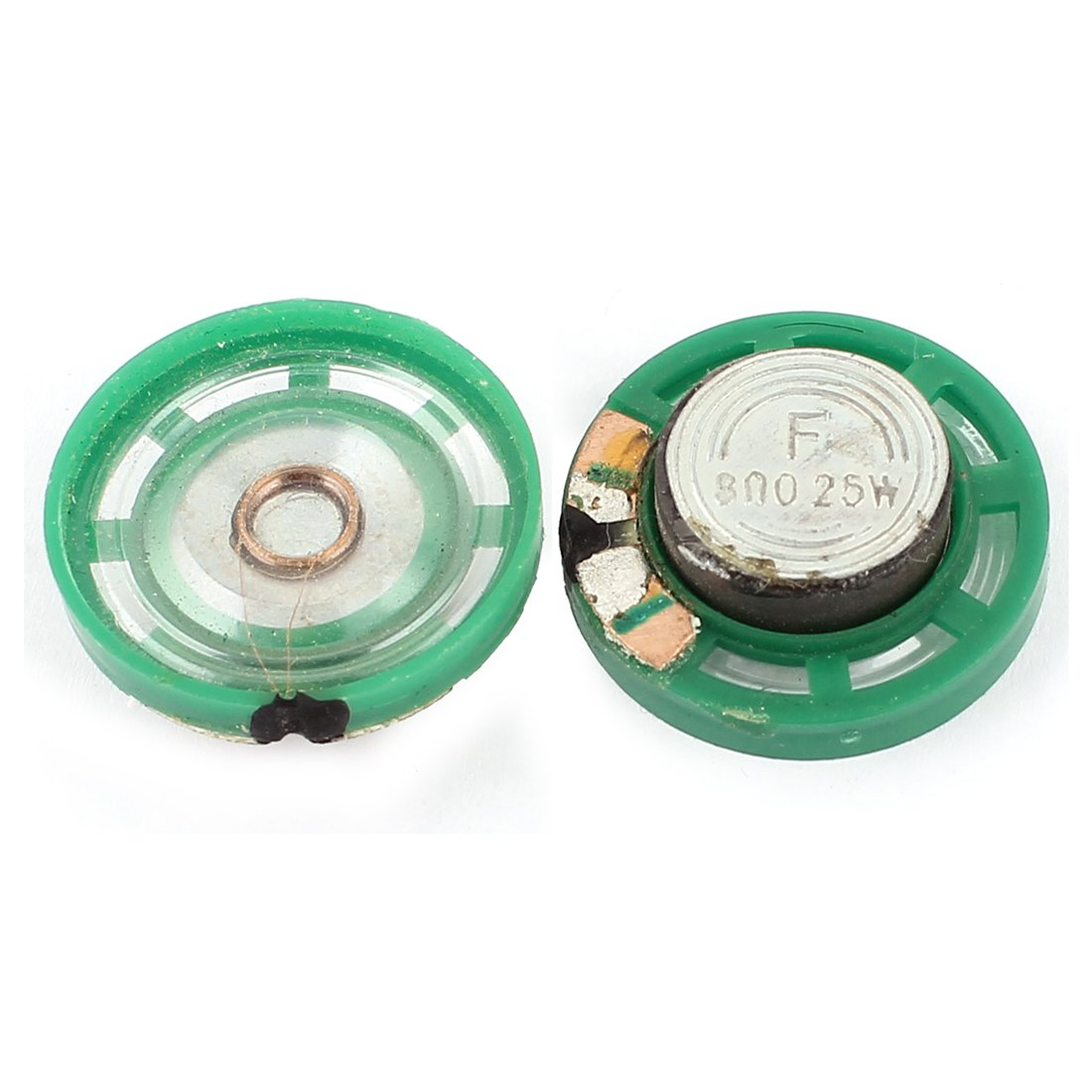 uxcell 2Pcs 8 Ohm 0.25W 27mm Dia External Magnet Mini Loudspeaker Horn Green