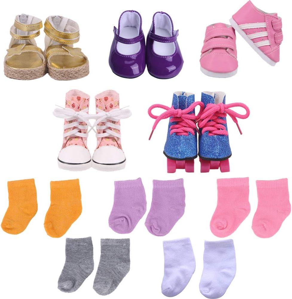 "ZWSISU 18"" Doll Accessories 5PCS Doll Shoes&5PCS Doll Socks Fits 18 inch American Girl Dolls ,Our Generation Dolls Journey Doll"