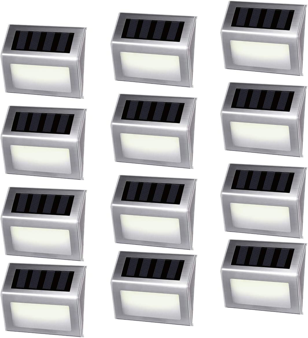 12 Pack iThird Solar Powered Step Lights 6 LED Solar Deck Lights Outdoor Warm White Stainless Steel Decoration for Stair Fence Path Auto ON Off Weatherproof Upgrade