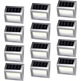 [12 Pack]iThird Solar Powered Step Lights 6 LED Solar Deck Lights Outdoor Warm White Stainless Steel Decoration for Stair Fence Path Auto ON/Off Weatherproof Upgrade