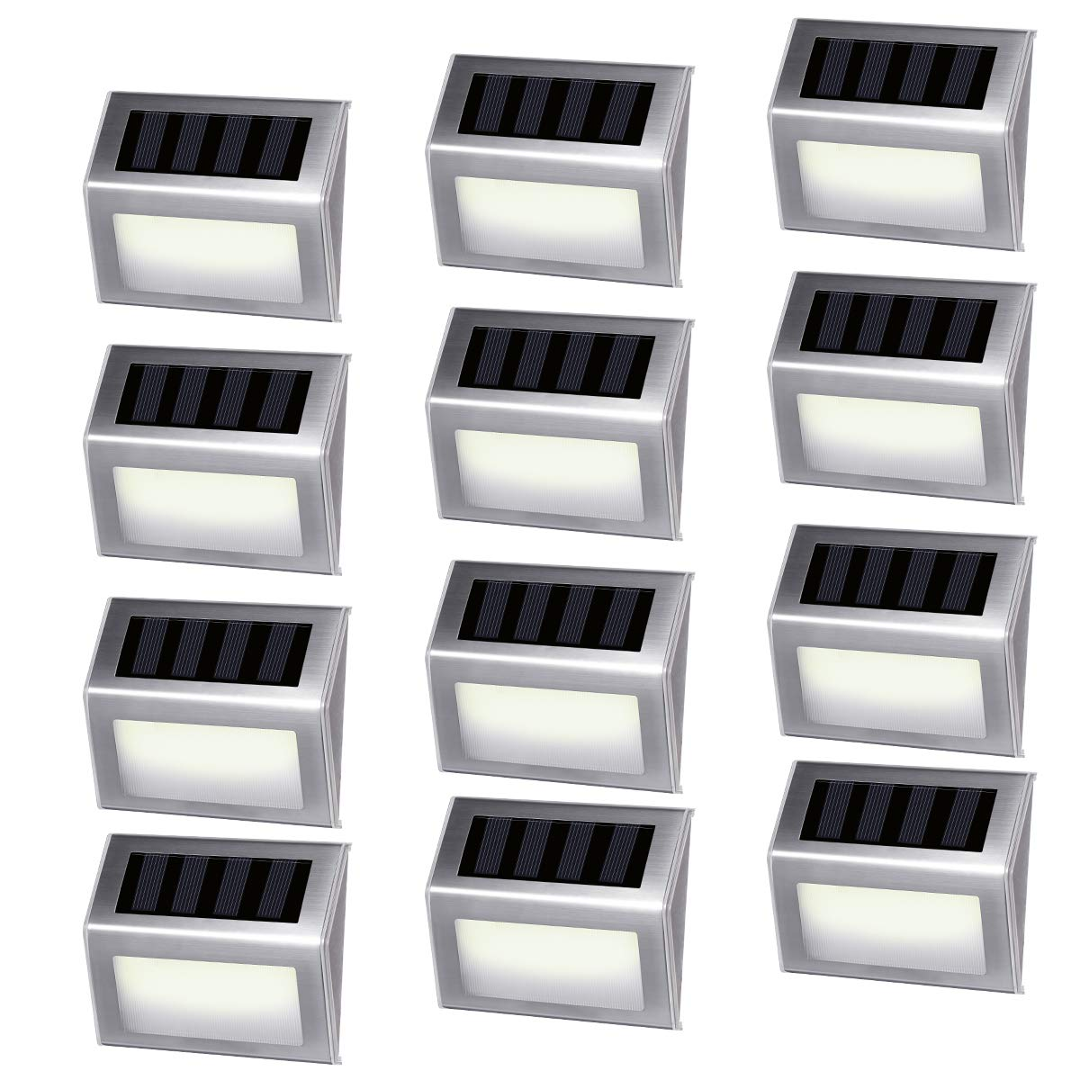 [12 Pack]iThird Solar Powered Step Lights 6 LED Solar Deck Lights Outdoor Warm White Stainless Steel Decoration for Stair Fence Path Auto ON/Off Weatherproof Upgrade by iThird