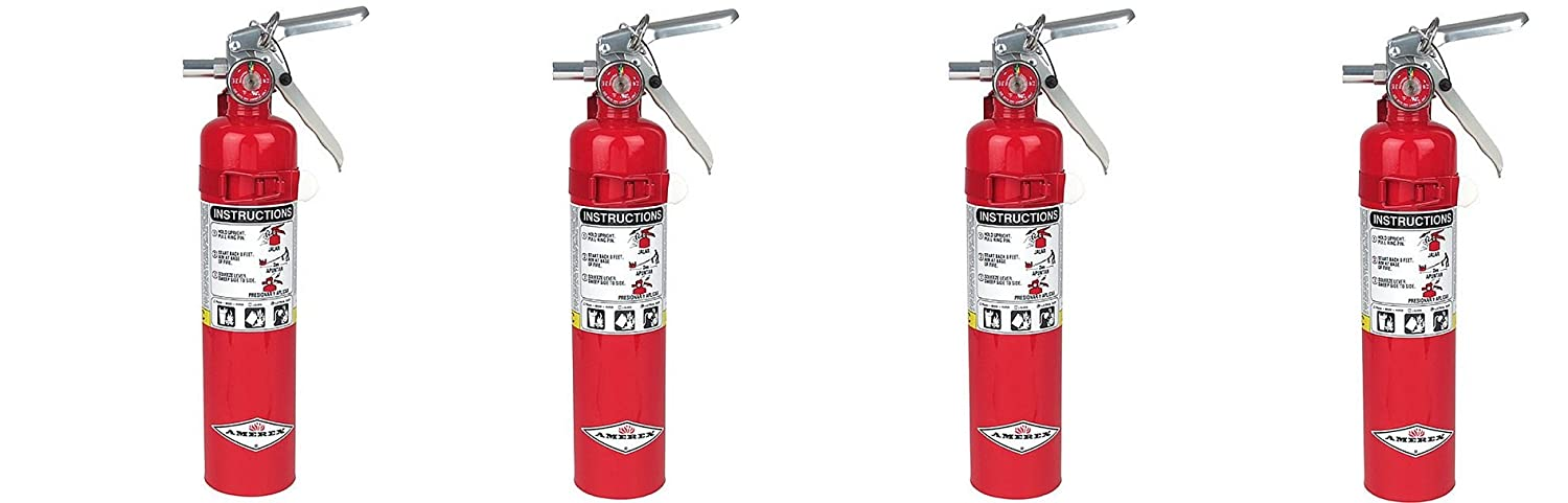 Amerex B417, 2.5lb ABC Dry Chemical Class A B C Fire Extinguisher, with Wall Bracket 4-PACK