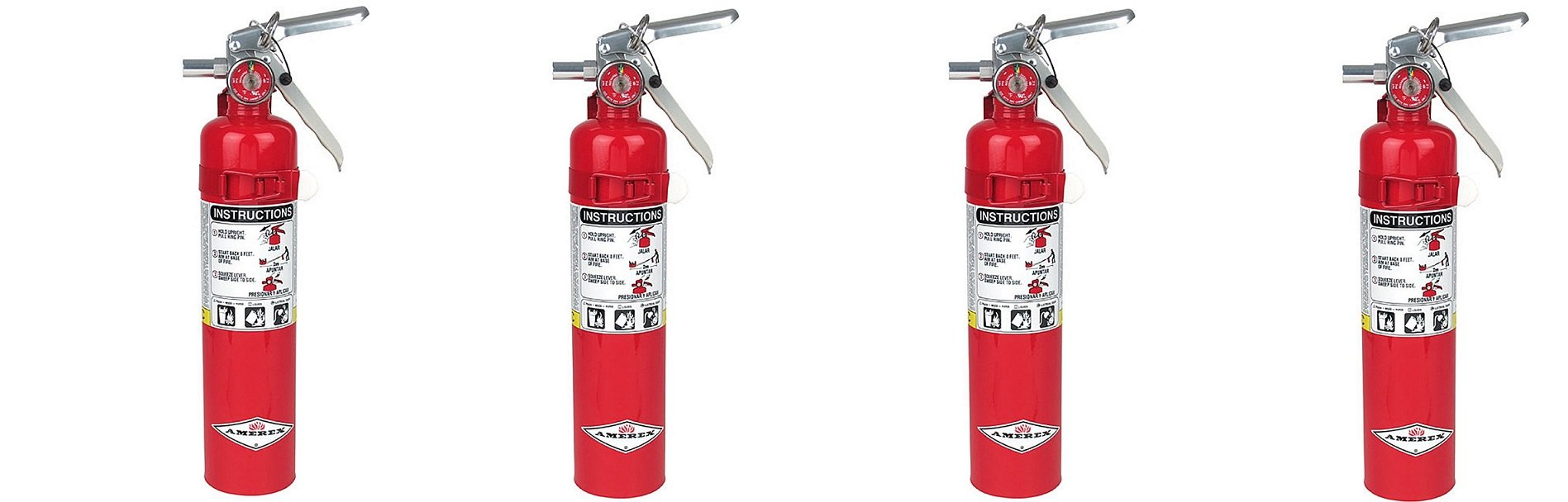 Amerex B417, 2.5lb ABC Dry Chemical Class A B C Fire Extinguisher, with Wall Bracket (4-PACK) by Amerex (Image #1)