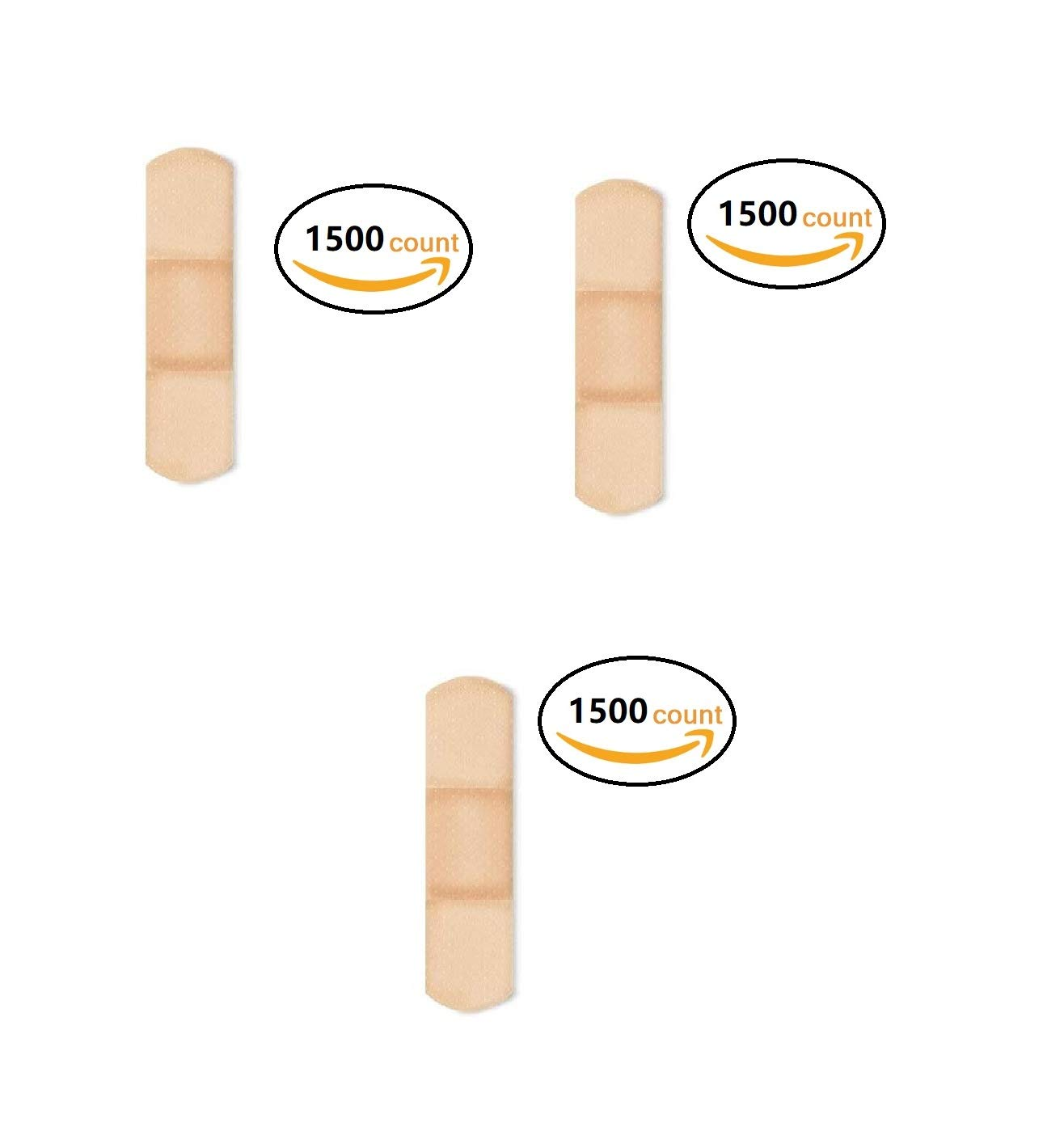 American White Cross 1304000 Sheer Adhesive Strips, Sterile, 3/4'' x 3'' Bulk, (3 Pack (1500 Count))