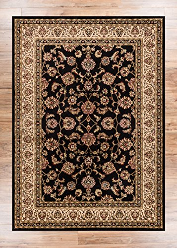Black Transitional Rug (Noble Sarouk Black Persian Floral Oriental Formal Traditional Area Rug 5x7 ( 5'3