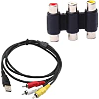 F Fityle USB to 3 RCA Female RGB Video AV A/V Cable +Female to Female 3 RCA Connector