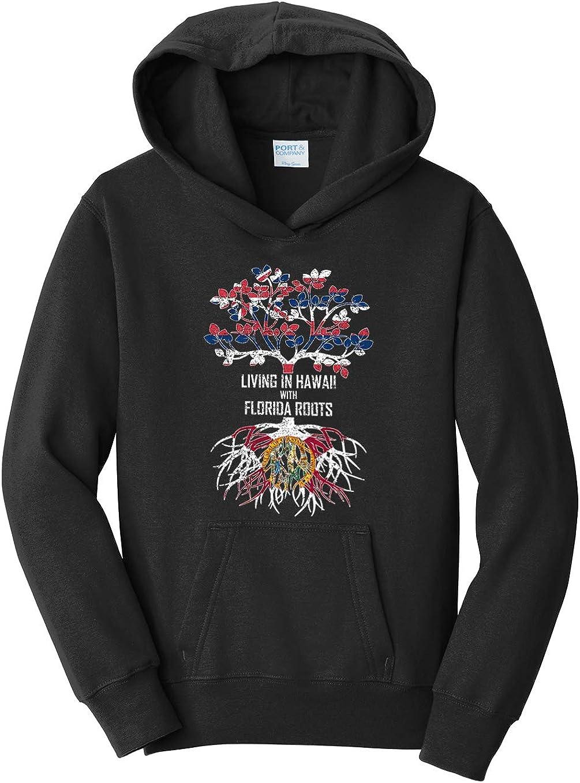 Tenacitee Girls Living in Hawaii with Florida Roots Hooded Sweatshirt