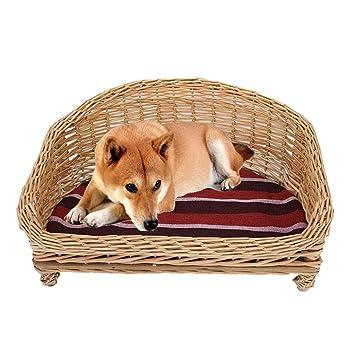 Amazon.com: MTFZD Cama tejida para mascotas, cesta de mimbre ...
