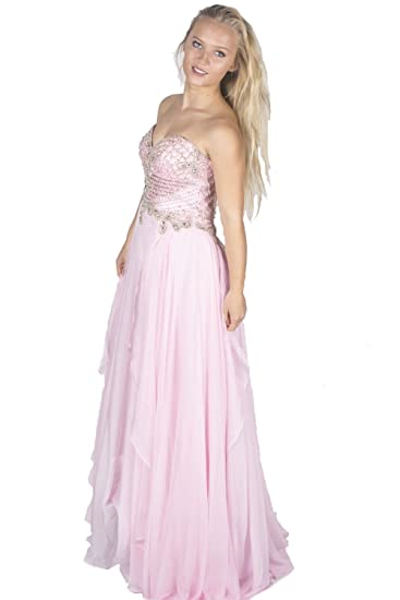 Sherri Hill 3895 Light Pink Bodice Detail Dress UK 10 (US 6)