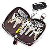 Aladin Large Leather Key Case Wallet with 12 Hooks & 1 Keychain / Ring for Women and Men Pink