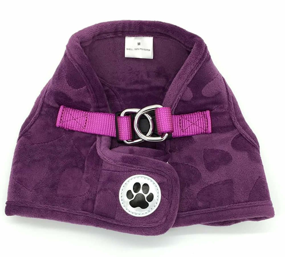 Purple Lovely Heart Print Fleece Padded Soft Dog Harness Safe Harness Winter Pet Harnesses for Medium Dogs, Xlarge Size