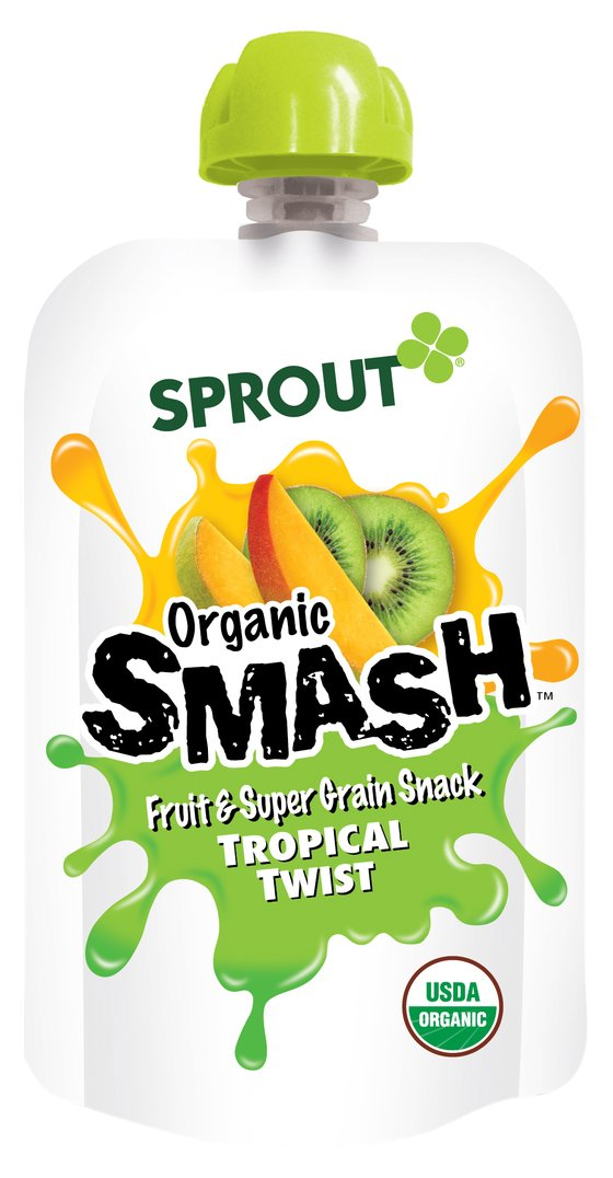 Sprout Organic Smash Snack Pouches Fruit And Grain Puree, Tropical Twist, 3.2 Ounce, 16 Count by Sprout