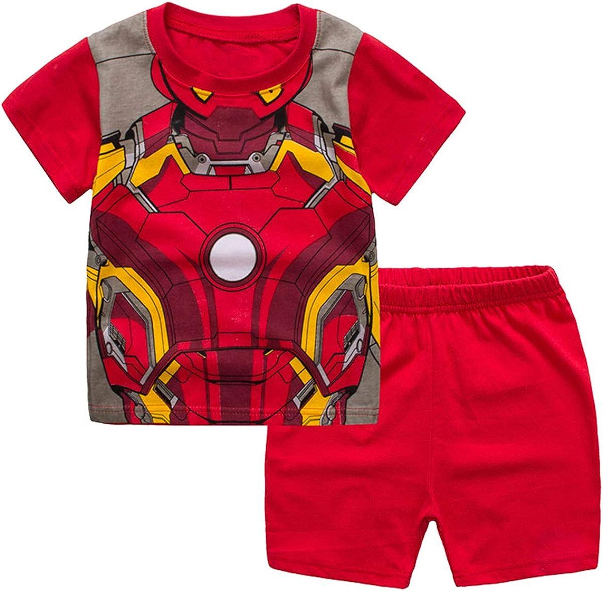 2T-7 ZooYi Iron Man Pajamas for Toddler-100/% Cotton Shorts Outfits Set-Little Boys Short Pajamas Set