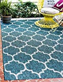 Unique Loom Outdoor Collection Casual Moroccan Lattice Geometric Teal Area Rug (4' x 6')