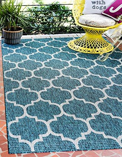 Unique Loom 3129046 Modern Geometric 9 12 feet (9' x 12') Outdoor Trellis Teal Contemporary Area Rug, 9' 0 x 12' 0 Rectangle
