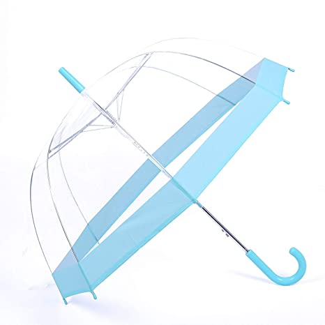 b107941d5b2d Rainbrace Clear Bubble Umbrella Auto Open Upgraded with Reinforced  Fibergrass Ribs, Transparent Clear Dome Shape for Women and Kids(LighBlue  2019 ...