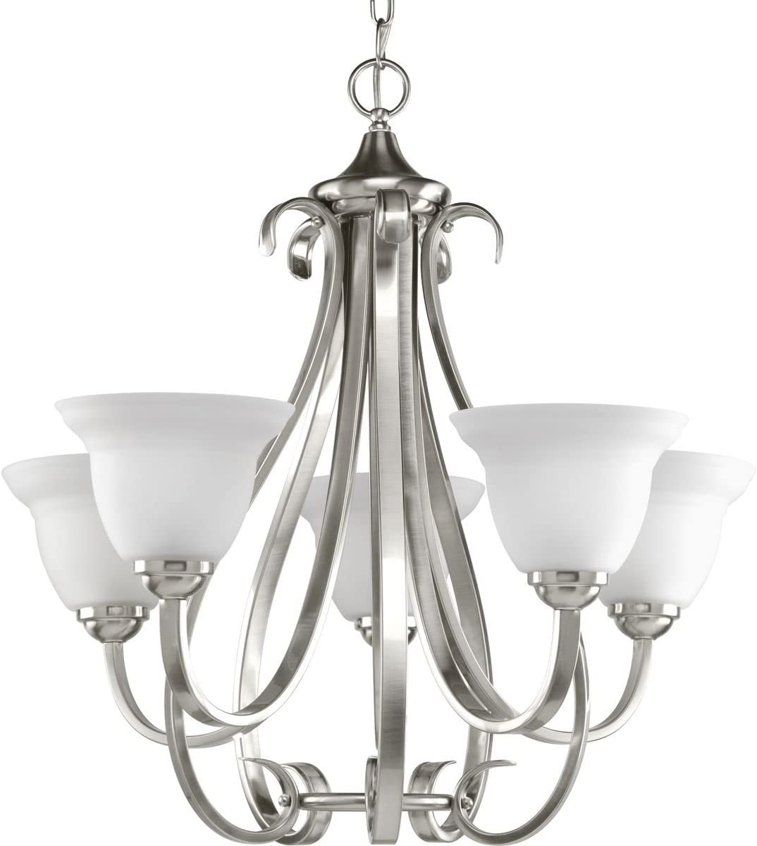 Progress Lighting P4416-09 5-Light Torino Chandelier, Brushed Nickel