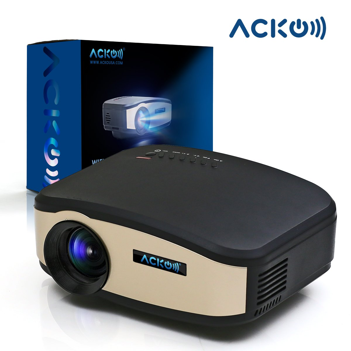 Acko Wifi LED HD Wireless Portable Mini LED Video Multimedia Digital Movie Projector 1200 Lumens Home Theater 1080p USB HDMI VGA Player DVD Television Gaming Computer PC Laptop Black