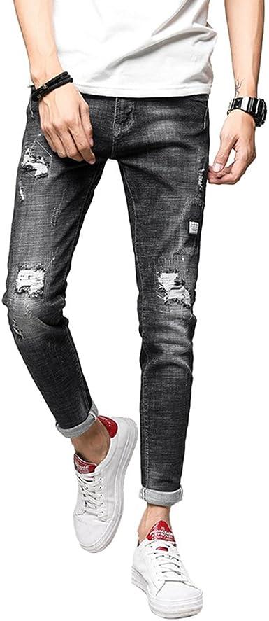 Yuandian Hombre Rasgados Rotos Jeans Parche Primavera Verano Casual Destroyed Desgastados Pierna Recto Pantalones De Mezclilla Tejanos Vaqueros Amazon Es Ropa Y Accesorios