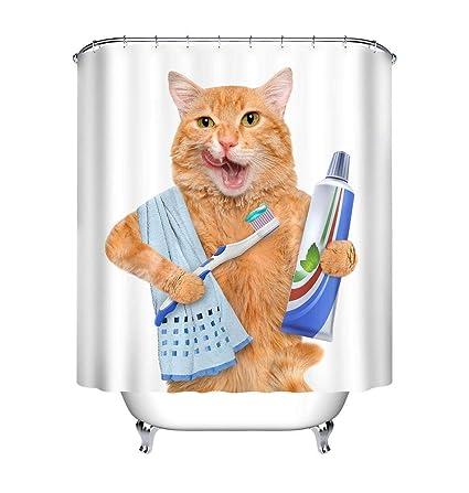 LB Gato Cortina de la ducha con ganchos, 150x180cm Pasta dental Cepillo de dientes Toalla