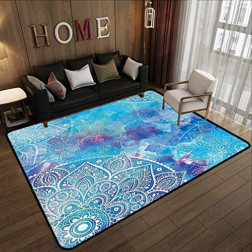 (Rugs for Kitchen Floor,Decorative Art,Paisley Floral Embroidery Batik White Lace Mandala Watercolor Painting Artwork Print,Ombre Blue Purple Aq 47