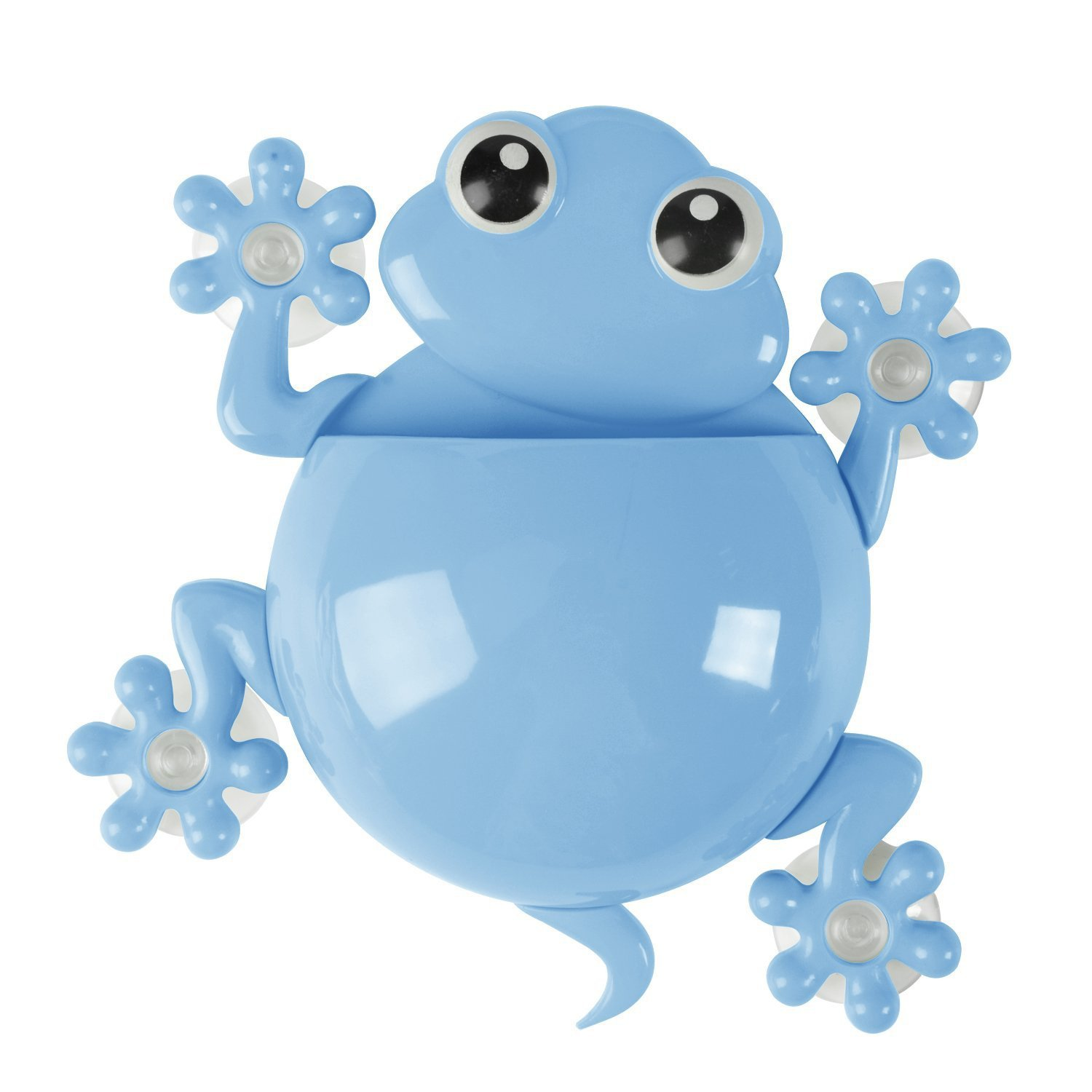 Saim Cute Cartoon Little Frog Kids Wall Suction Cup Mount Toothbrush Holder Container Blue
