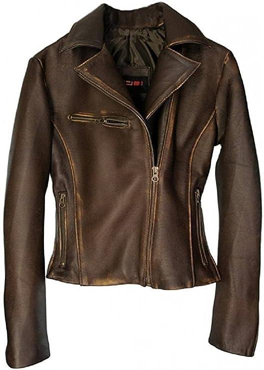 DashX Kenna-W - Chaqueta de piel para mujer, color marrón
