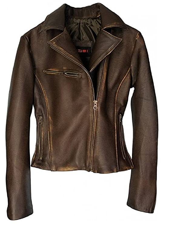 DashX Kenna-W Women's Leather Jacket Lambskin Distressed Brown,Small