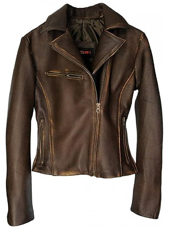 DashX Kenna-W Women's Leather Jacket Lambskin Distressed Brown,Small