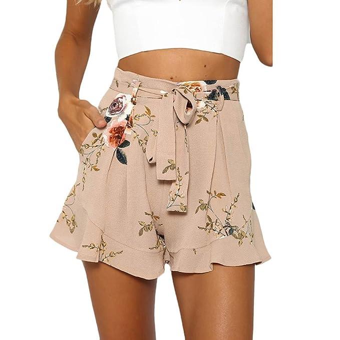 PAOLIAN Pantalones Cortos para Mujer Verano 2018 Casual Pantalones de Vestir  Estampado Flores Fiesta con Pretina Cintura Alta Suelto Pantalones Cortos  ... 596783f8e939