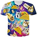 RAISEVERN Unisex Captain Cat & Rainbow Shark/Taco Cat Tank Tops, T-Shirt, Button Shirts, Swim Trunks, Jogger Pants for Men